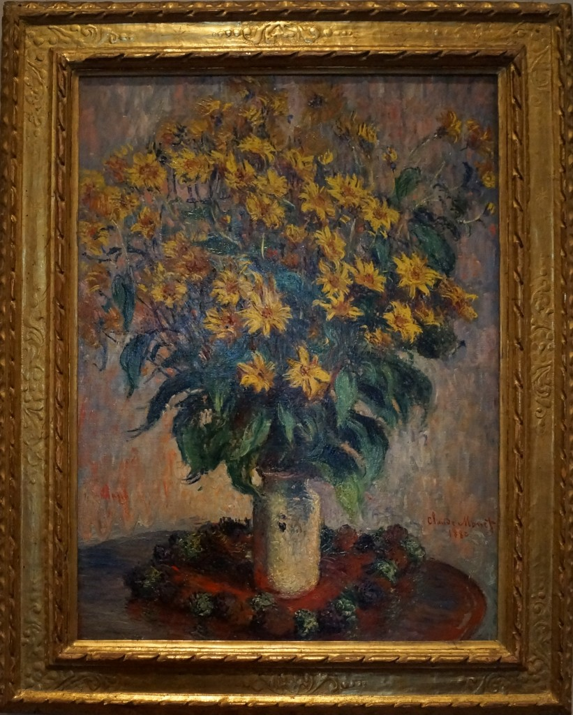 Jerusalem Artichoke by Claude Monet depicts one of many native American sunflower species important to honey bees and native bees. And of course bees are important to this plant's reproduction. Beyond being attractive, people enjoy the tubers produced by this plant for food, animal feed, and to brew spirits.