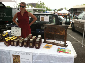 Betsy selling honey